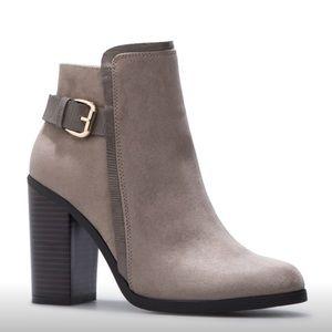 NIB 10 Shoe Dazzle Gray Faux Suede Heeled Booties